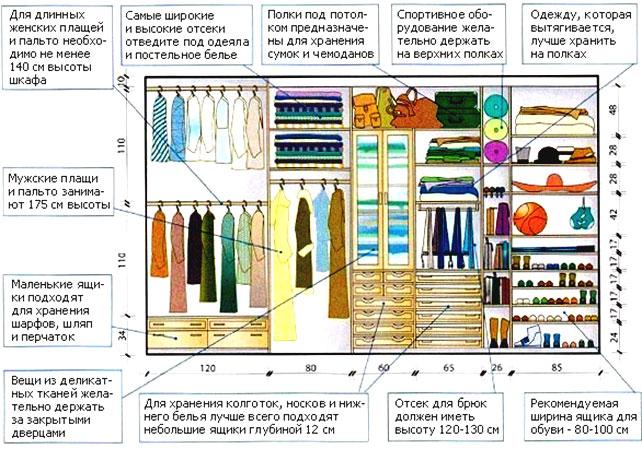 распределение вещей в шкафу купе