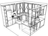 Контурный рисунок кухни