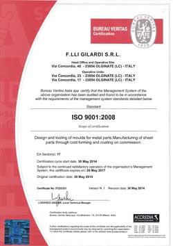 сертификат качества AVK Gilardi