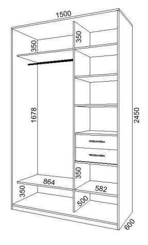 Схема шкафа-купе на 2 двери