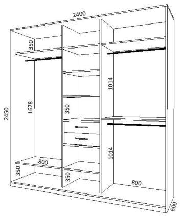 Схема шкафа-купе на 3 двери