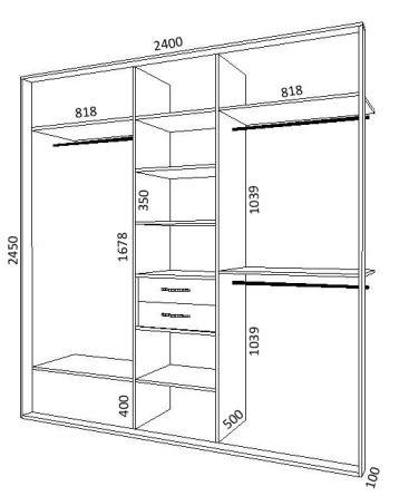 Схема встроенного шкафа-купе на 3 двери