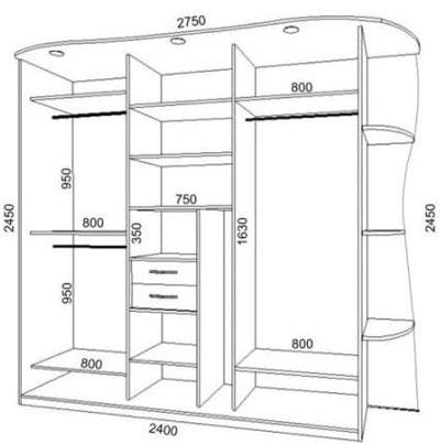 Схема шкафа-купе на 3