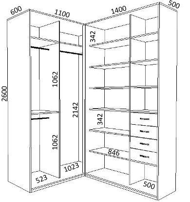 Схема монтажа встроенного шкафа купе.