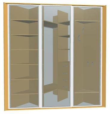Угловой треугольный шкаф-купе на 3 двери