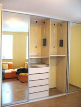 Шкаф-купе встроенный зеркала ящики solo